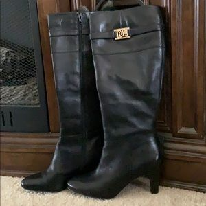 Ralph Lauren tall heeled leather boots size 8